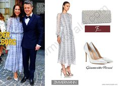 Princess Mary in Zimmermann Dress and J Furmani Bag and Gianvito Rossi Pumps