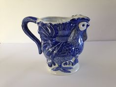 Blue & White Rooster Pitcher  Shabby Chic by EightBoardsFarm, $25.00