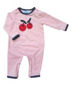 Albetta Pink Stripe Crochet Cherry Playsuit - Infant | zulily