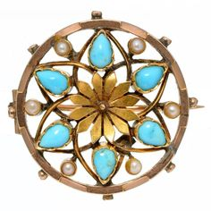 A SPLIT TURQUOISE AND PEARL SET GOLD OPENWORK BROOCH, INDISTINCTLY MARKED 9CT, LATE 19TH C, 6.6G  Sold @ Mellors & Kirk