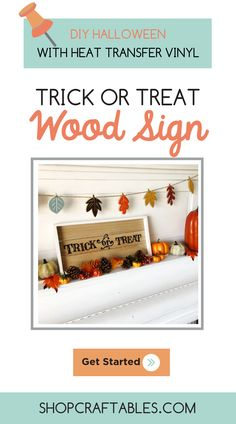 Learn how to use to make a Halloween wood sign in this 30 minute Silhouette Cameo project tutorial from Vinyl Crafts, Vinyl Projects, Diy Craft Projects, Halloween Wood Signs, Halloween Vinyl, Cheap Heat Transfer Vinyl, How To Use Cricut, Halloween Trick Or Treat, Natural Home Decor