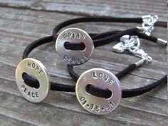 leather & stamped washer bracelets