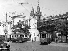 Otto Wagner 1895, Gürtellinie -Die heutige U6-Station Josefstädter Straße im Jahr 1954. Die Stadtbahn ist schon längst elektrisch unterwegs.