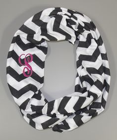Love this Black & White Zigzag Initial Infinity #Scarf by Princess Linens on #zulily! #zulilyfinds #monogram #chevron