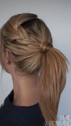 Easy hairstyle. Perfect for the gym. Ponytail Hairstyles Tutorial, Straight Hairstyles, Braided Hairstyles, Cool Hairstyles, Hairstyle Tutorials, Braid Ponytail, Ponytail Ideas, Hairstyle Ideas, Braid Hair
