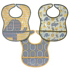 Buy Bibsters 3 Pack Yellow Elephant Bibs - This 3 Pack animal themed bib set is comfortable and water resistant. Perfect for baby at feeding time! Easy clean up and easy closure make them a great choice for baby! Elephant Baby Showers, Baby Elephant, Baby Shower Signs, Baby Boy Shower, Baby Shower Pictures, Diaper Bag Essentials, Elephant Theme, Baby Shower Balloons