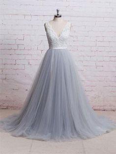 Elegant V-neck long tulle lace prom dresses B73. Wedding Dress ... ebf1316650a1
