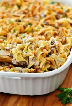 This French Onion Beef Casserole will win hearts all around the dinner table. Filled with beef, French onion dip and noodles- this casserole isdelicious, full of flavor and so comforting! Onion Casserole, Beef Casserole Recipes, Hamburger Casserole, Brocolli Casserole, Chicken Casserole, Hamburger Dishes, Noodle Casserole, Califlower Casserole, Cowboy Casserole