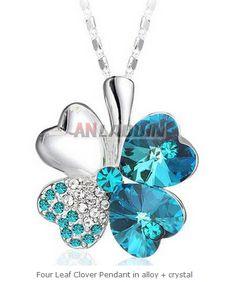 Four Leaf Clover Pendant in alloy + crystal Cheap Silver Jewelry, Crystal Jewelry, Four Leaf Clover, Crystals, Pendant, Hang Tags, Crystal, Pendants, Quatrefoil
