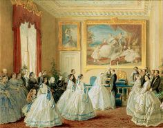 Princess Alice's wedding.  Note the mixture of evening gown and day styles.  Can't be sure on some, but it appears that the evening gowns have a fichu to fill in.