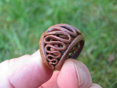Hand carved Macadamia ring by PitCutter on Etsy