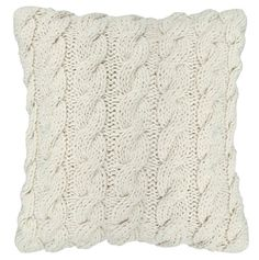 This knitted-look cream throw pillow adds a warm and comfortable accent to your decor. 12in X 12in