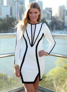 White Long Sleeve Bodycon Dress with Black Piping & Trim,  Dress, white black mesh high neck, Chic