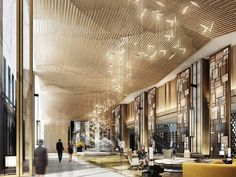 Just love those amazing ideas for an hotel lobby! Such a unique lighting…