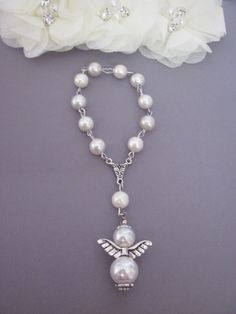 Lot of 20 White Angel Boy Girl Pearl Mini Rosary Favors for