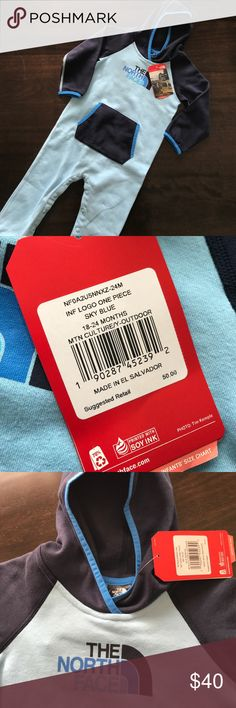 NWT The North Face Toddler One Piece Outfit Super cozy! Keep your toddler warm this Fall and Winter with this one piece outfit. 3 tones of blue. Snaps at the inseam for quick changes. The North Face One Pieces
