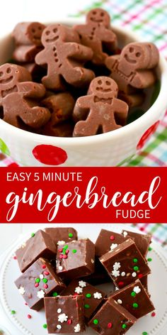 If you love gingerbread cookies you will be a big fan of this 5 Minute Gingerbread Fudge. Easy Christmas fudge recipe adapted to taste just like a gingerbread cookie! by leola Christmas Fudge, Christmas Deserts, Christmas Cooking, Christmas Candy, Xmas, Easy Christmas Recipes, Christmas Crack, Christmas Coffee, Christmas Stuff