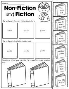 Non-Fiction and Fiction - Read the titles of the books and sort, cut and paste.