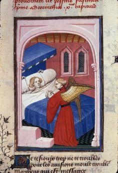 Harley 4431 Morpheus bringing sleep to a man in a bed, in 'L'Épître Othéa'.