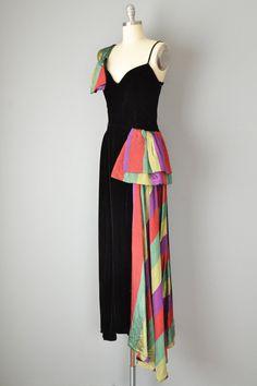Vintage 40s Dress // 1940s Black Velvet and Thai Silk gown