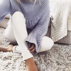 Grey knit sweater + white jeans