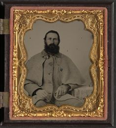 Unidentified soldier in Confederate uniform in great coat