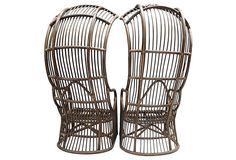 """Pair of incredible vintage sculptural canopy chairs in the style of Franco Albini. Well built, sturdy and unique with exaggerated, high backs. Seat height (without cushions/none included) 13.5"""" Arm height 25.5Pick up in San Diego welcomed.  Affordable private delivery in the LA/Palm Springs areas available-please inquire.  Long distance delivery via white glove-please ask for a quote prior to purchase. 30""""x34""""x63"""""""