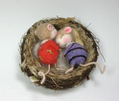 Needle Felted Animal Dressed Mouse & Bunny Class Needle Felting to create BOTH the Bunny and Mouse (Kit Available and sold separately). $45.00, via Etsy.