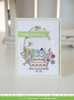 Lawn Fawn - Happy Wedding, Stitched Oval, Interlocking Backdrops_ card by Nicole for Lawn Fawn Design Team