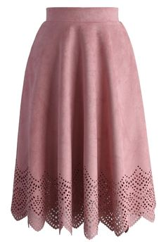 Blush Pink Suede Cutout Midi Skirt - New Arrivals - Retro, Indie and Unique Fashion