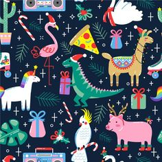 Find Christmas Seamless Pattern Cute Funny Animals stock images in HD and millions of other royalty-free stock photos, illustrations and vectors in the Shutterstock collection. Thousands of new, high-quality pictures added every day. Christmas Design, Christmas Art, Christmas Graphics, Christmas Patterns, Christmas Pictures, Christmas Cookies, Pattern Cute, Wrapping Paper Design, Paper Wrapping