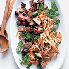 Moroccan Lamb Salad With Carrots and Mint:  Lamb, a tender variety of red meat, is rich in the mineral selenium, which may help keep asthma at bay. It's also a great source of protein. If you're tight on time, coarsely grate carrots in a food processor instead of peeling into long strips. | Health.com