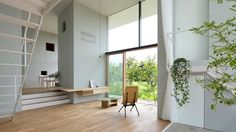 House in Ohno, is a two-storey house located amongst an orchard of the persimmon trees of Gifu Prefecture area, designed by Japanese Airhouse Design Office. Gifu, Rue Verte, Two Storey House, Built In Desk, Piece A Vivre, Space Architecture, Interiores Design, Interior Inspiration, Color Inspiration