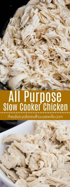 All Purpose Slow Cooker Chicken. Want to make meal prep even easier?? CHECK THIS OUT!! Trust me it will save you so much time.