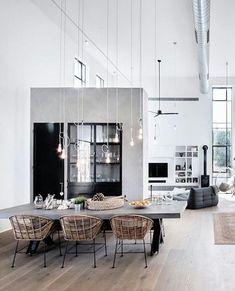 Monochrome interior design concept. Dining table out of concrete. | Monochromes Einrichtungskonzept. Esstisch aus Beton. #interiordesign #diningroom #concretediningtable #esszimmer #esstischausbeton