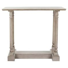 """small console?  too casual?  Pine console table with turned detailing.     Product: Console tableConstruction Material: Pine woodColor: Vintage grayFeatures: Sturdy and versatileDimensions: 31.9"""" H x 37.8"""" W x 15.7"""" D"""