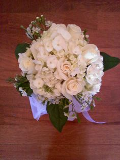 Hydrangea, roses and waxflower by Weddings by Jennifer, via Flickr