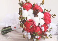 Купить Зимний букет невесты с ранункулюсами,хлопком и корицей - красный, ранункулюсы, букет невесты