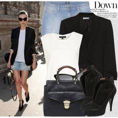 something that looks decent with a jean skirt. High End Fashion, New Fashion, Fashion Outfits, Street Style Blog, Fashion Capsule, Fashion Sites, Feminine Dress, Miranda Kerr, Dress Me Up