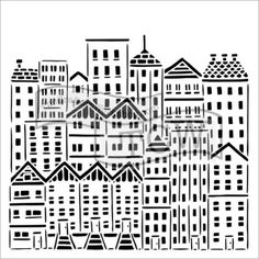 This urban cityscape stencil is ideal for adding detailed images and shapes to your glass art work. Great for glass powder printing techniques. Tree Stencil, Stencil Art, Stencils, House Doodle, Bullseye Glass, Custom Writing, Simon Says Stamp, City Buildings, Custom Labels