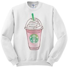 Frappuccino Pink Strawberries and Creme Starbucks Women's White... ($26) ❤ liked on Polyvore featuring tops, sweaters, white sweater, crewneck sweater, cream top, white crew neck sweater and pink sweater
