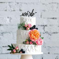 We do wedding cake topper. | Simple Wedding Cake Toppers | White Wedding Cake | Industrial Wedding | Wedding Cake Decor | Wedding Cake Ideas | We Do Wedding Ideas | #weddingcaketopper #caketopper