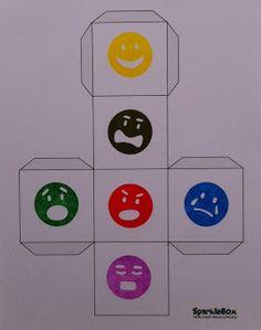 gevoelens dobbelsteen emotions: blij, boos, bang, verdrietig? Ontdek de taal van emoties. TIP's op www.LEKKER-in-je-VEL-spel.nl