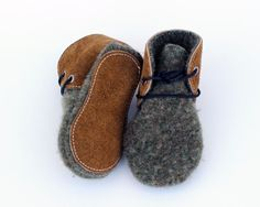 Leather and Wool Baby/Toddler Shoes, Slippers, First Walking Shoes, Minimalist Baby Shoes by Ollie and Tate on Etsy
