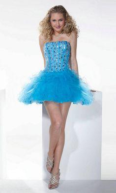 épinglé par ❃❀CM❁✿Lace Up Back Corset Beading Tulle Short Strapless Sweetheart Blue Prom Dress
