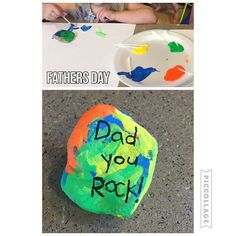 Dad you rock! {We are getting ready for Father's Day. And since Bree is obsessed with rocks I thought it was appropriate to do a rock project! Haha} #toddlerfathersday #toddlercraft #toddlerart #fathersdaycraft #fathersday #toddleractivities #toddleractivity #toddlerart #toddlerfun #toddlerplay