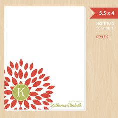 Personalized Note Pad // Red Blooming Blossom with Monogram Initial and Name by k8inked, $14.00