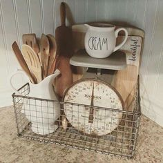 Vintage Decor Rustic Farmhouse decor ideas: white porcelain, kitchen scale, rusty wire basket, vintage cutting boards, wooden spoons and a rolling pin - Farmhouse Kitchen Decor, Country Kitchen, Rustic Farmhouse, Diy Kitchen, Farmhouse Ideas, Kitchen Small, Cheap Kitchen, Kitchen Signs, Farmhouse Furniture