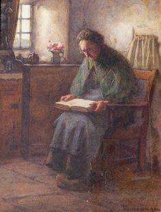 Village Antiques: Henry John Dobson - Original Watercolor - Elderly Woman Reading the Bible
