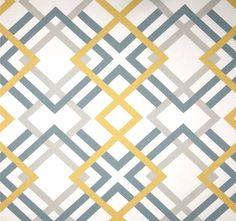Modern Geometric Fabric by the Yard Greys & Saffron Designer Home Decor Fabric Drapery Fabric Upholstery Fabric Grey Yellow Cotton G149